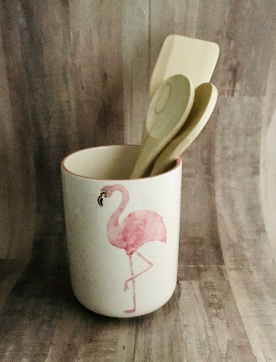 Flamingo Round Utensil Holder. Flamingo. Utensil. Round Vase. Kitchen. Handmade by Sara Hunter.
