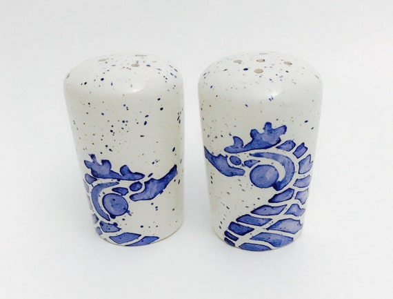 Seahorse Salt and Pepper Shakers. Salt. Pepper. Seahorse. Shakers. Circles. Dots. Condiment. Handmade by Sara Hunter