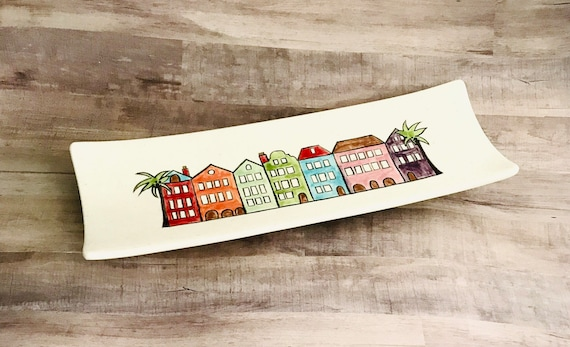 Rainbow Row Platter. Rainbow Row. Charleston. South Carolina.  Rectangular Platter. Handmade By Sara Hunter.