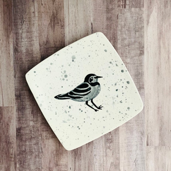 Dinner Plate. Sandpiper. Shorebird. Salad Plate. Housewarming Gift. Nautical.Handmade by By Sara Hunter