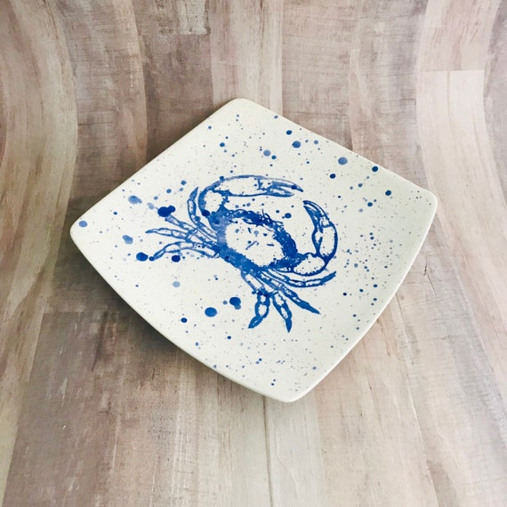 Plate. Salad. Blue Crab Dinner Plate. Salad Plate. Dots. Handmade by Sara Hunter Designs