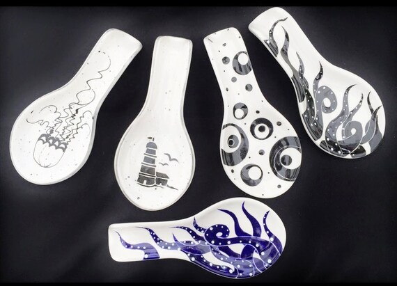Spoon Rest. Sea Turtle. Jellyfish. Circle. Lighthouse. Octopus. Anchor. Crab. Mermaid.  Handmade By Sara Hunter