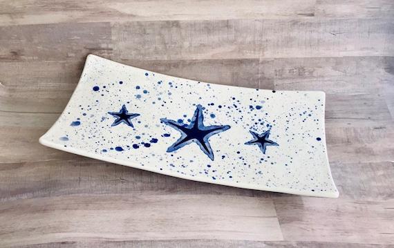 Platter. Starfish. Rectangular Platter. Sea Star. Handmade by Sara Hunter.