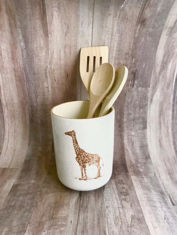 Giraffe Round Utensil Holder. Giraffe. Vase. Kitchen.  Housewarming Gift. Wedding Gift. Handmade by Sara Hunter