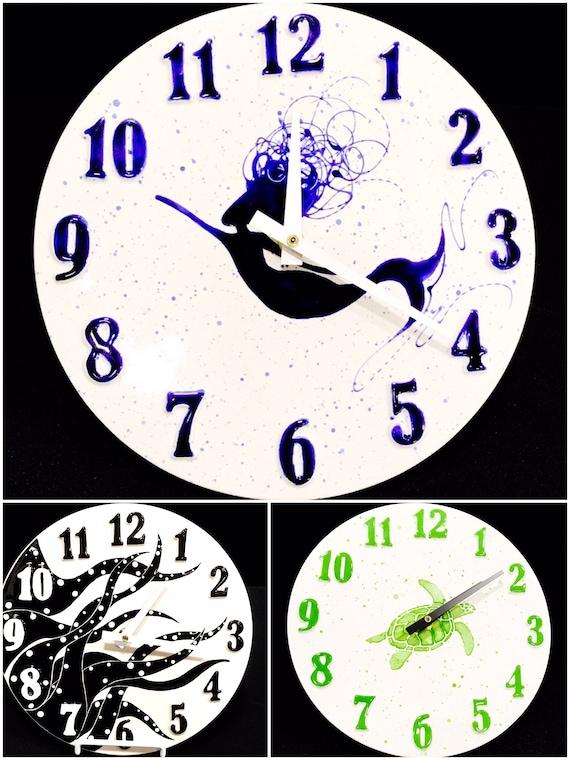 Wall Clock. Mermaid. Octopus. Sea Turtle.  Home Decor. Kitchen. Housewarming. Bedroom. Mermaid. Clock. Handmade by Sara Hunter Designs