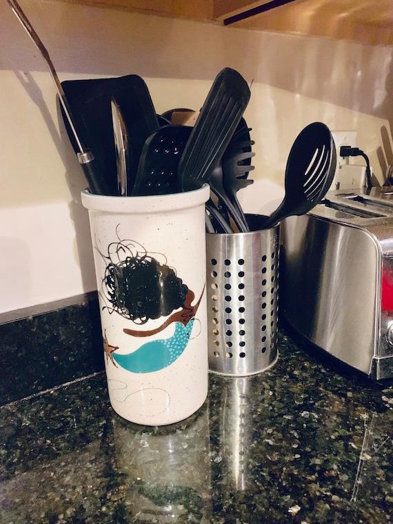 Tall Mermaid Utensil Holder. Wine Cooler. Large Utensil Holder. Sea. Mermaid. Handmade by Sara Hunter