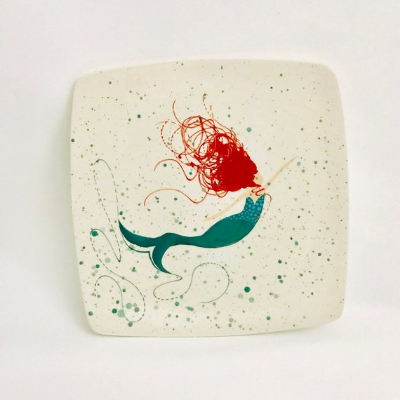 Mermaid Dinner Plate. Dinner Plate. Clay. Home Decor. Kitchen. Housewarming. Mermaid. Handmade by Sara Hunter