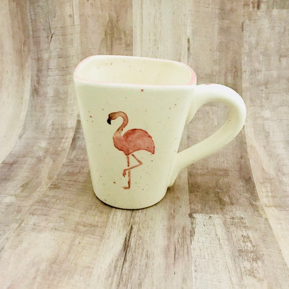 Flamingo Mug, Flamingo. Coffee, 12 oz, Handmade By Sara Hunter