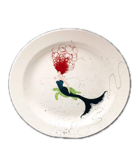Sidepose Mermaid Rimmed Round Platter. Home Decor. Kitchen. Housewarming. African American Mermaid. Caucasian. Turtle. Mermaid with Turtle