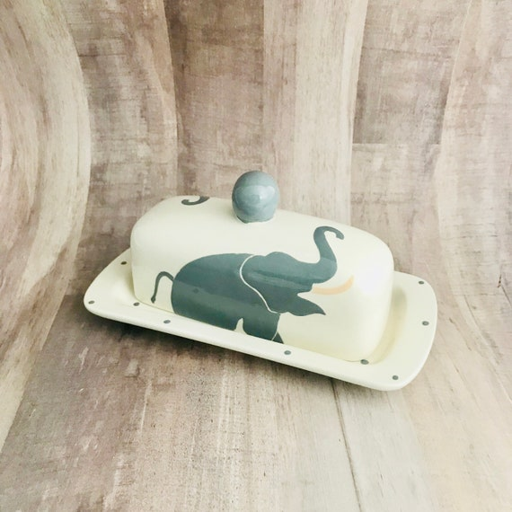 Elephant Single Butter Dish.Knobbed. Elephant. Butter. Handmade by Sara Hunter Designs