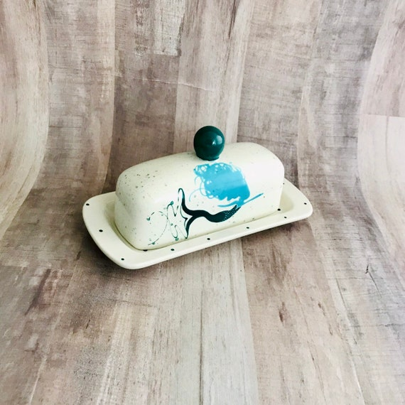 Butter Dish. Teal and Aqua Mermaid Butter Dish. Knobbed Butter Dish. Handmade by Sara Hunter