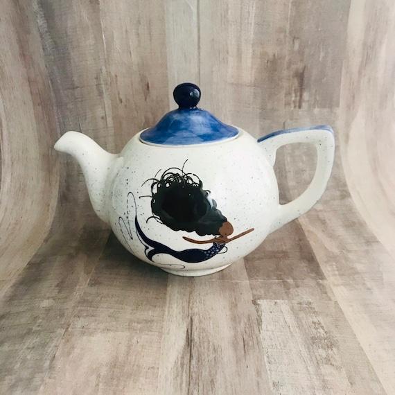 Teapot. Mermaid Teapot. African American Mermaid Teapot. Caucasian Mermaid Teapot. Housewarming gift. Tea Party. Handmade by Sara Hunter