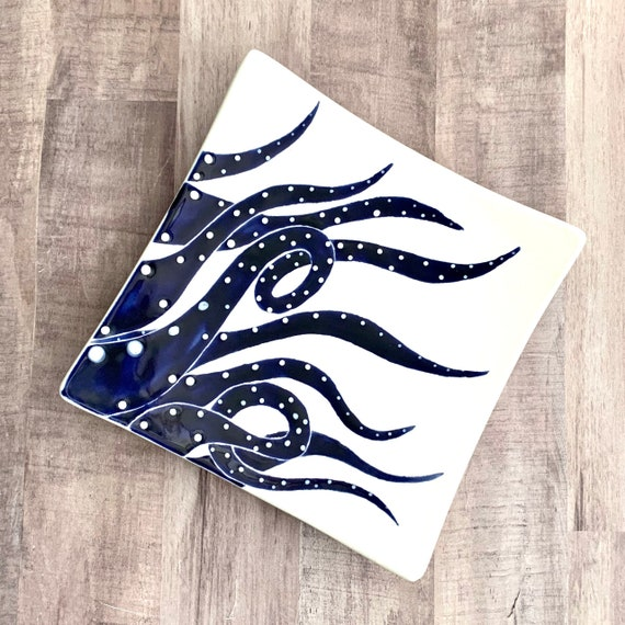 Plate. Salad. Octopus Salad Plate. Octopus Plate. Octopus Dinner Plate. Salad Plate. Nautical. Coastal. Handmade By Sara Hunter