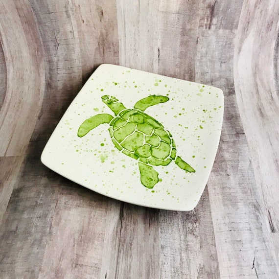 Plate. Salad. Sea Turtle Dinner Plate. Salad Plate. Green. Dots. Handmade by Sara Hunter