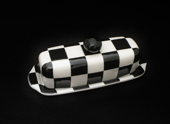 Butter Dish. Checkerboard Knobbed Butter Dish. Dish. Handmade by Sara Hunter