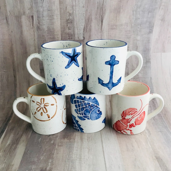 Round Mugs, Crab, Starfish, Turtle, Anchor, Lobster, Sand Dollar, Fish, Coffee, 12 oz, Handmade By Sara Hunter