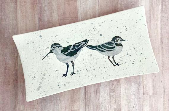 Platter. Sandpiper. Shore Birds. Rectangular Platter. Sea. Bird. Handmade by Sara Hunter