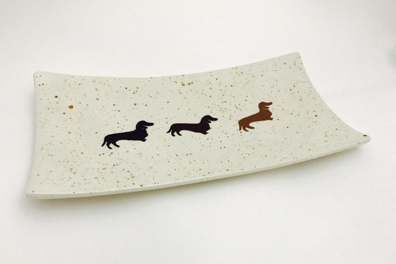 Platter. Wiener Dog. Dachshund. Dog. Rectangular Platter. Handmade by Sara Hunter