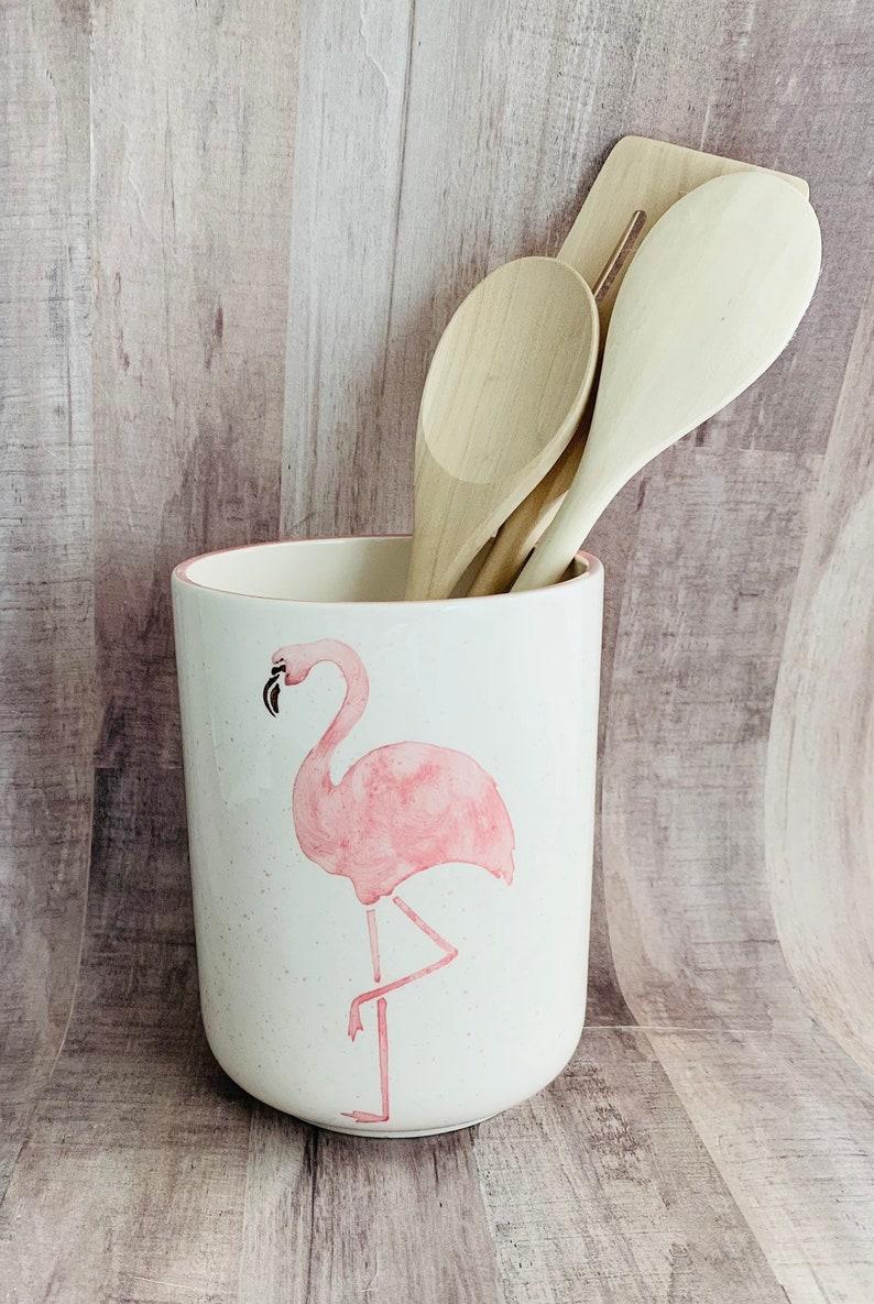 Flamingo Round Utensil Holder Flamingo Utensil Round Vase Kitchen Handmade By Sara Hunter
