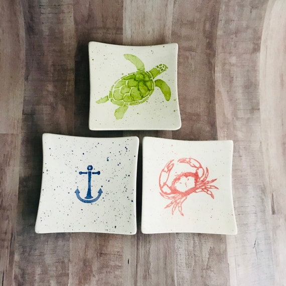 Mini Plate . Turtle Mini Plate. Crab. Anchor. Octopus. Ring Dish. Bridemaid Gift. Plate. Housewarming. Dinner Party. Wedding. By Sara Hunter