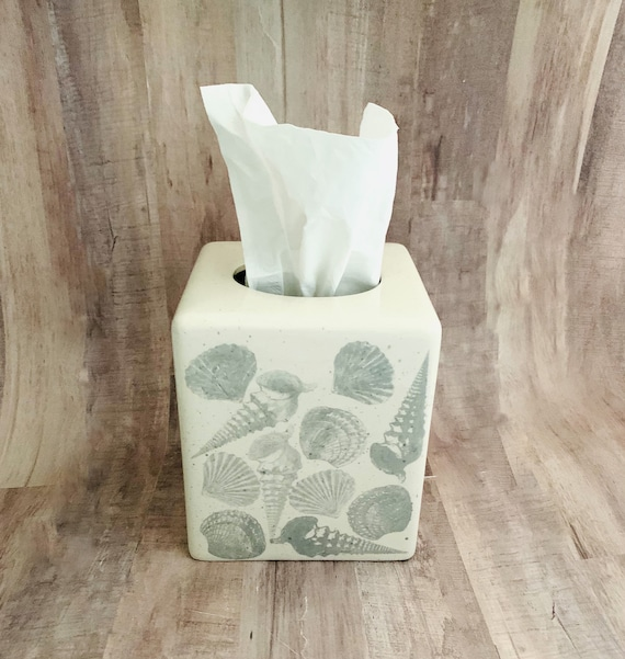 Shells Tissue Box. Scallop. Shell. Tissue Box. Housewarming Gift. Wedding Gift. Handmade by Sara Hunter