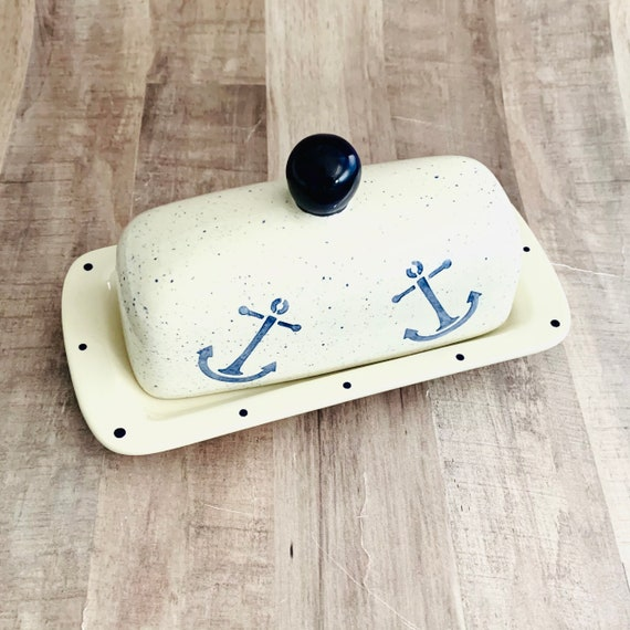 Butter Dish. Anchor Knobbed Butter Dish. Anchor. Nautical.Handmade by Sara Hunter