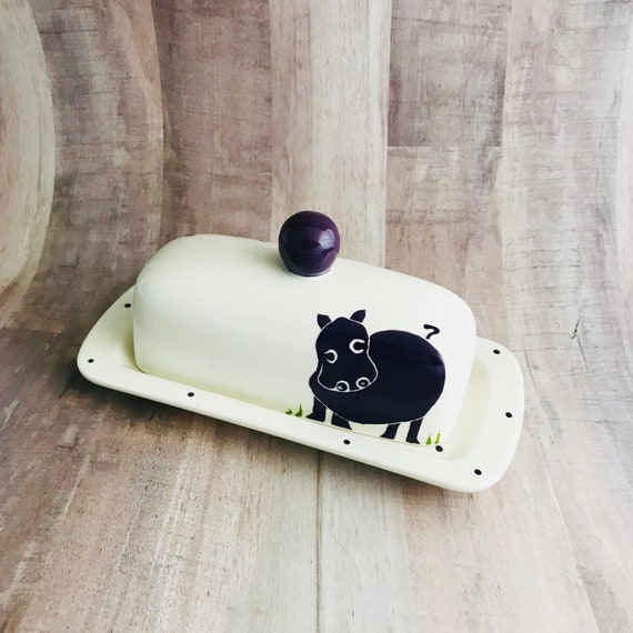 Hippo. Hippopotamus. Knobbed Butter Dish. Handmade by Sara Hunter