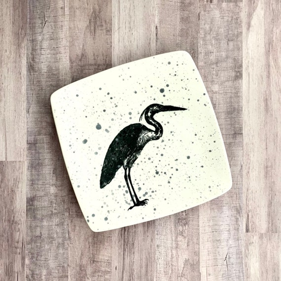 Dinner Plate. Heron. Egret. Salad Plate. Dinner Housewarming Gift. Nautical.Handmade By Sara Hunter