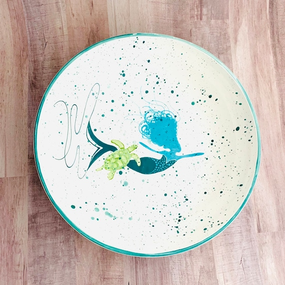 Pasta Bowl. Teal and Aqua Mermaid with Turtle Pasta Bowl. Pasta. Bowl. Handmade by Sara Hunter