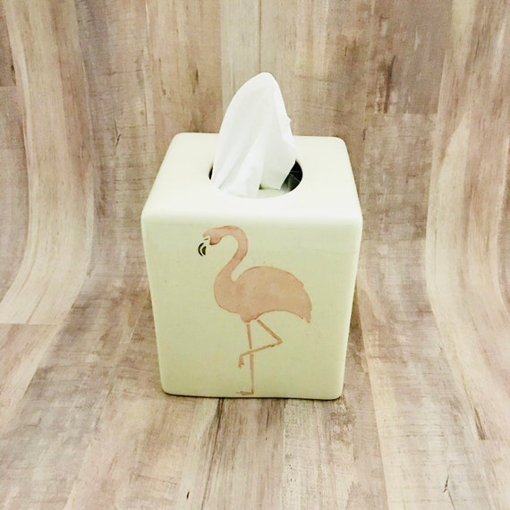 Tissue Box. Flamingo Tissue Box.  Bathroom. Ceramic Pottery. Handmade by Sara Hunter