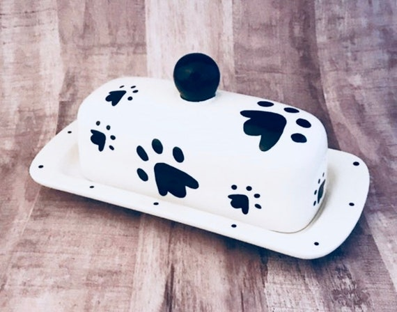 Butter Dish.Black Doggie Paw Knobbed Butter Dish. Black. Paw. Dish. Knobbed. Butter. Dog. Handmade by Sara Hunter