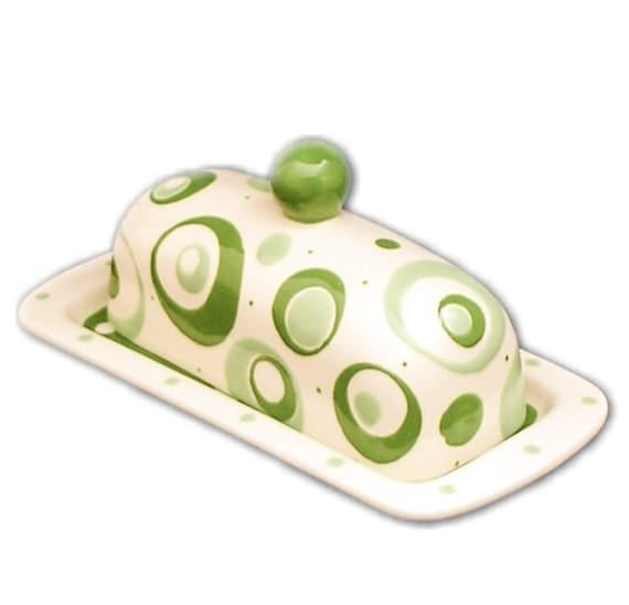 Green/Light Green Knobbed Butter Dish. Handmade By Sara Hunter