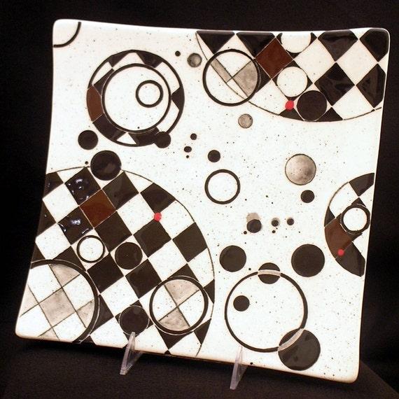 Checkerboard and Circles Platter. Checkerboard. Checkered. Circles. Platter