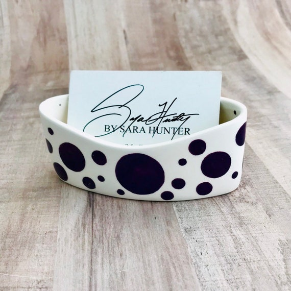 Dot Business Card Holder. Dot. Circle. Bubble. Business. Card. Handmade by Sara Hunter Designs.