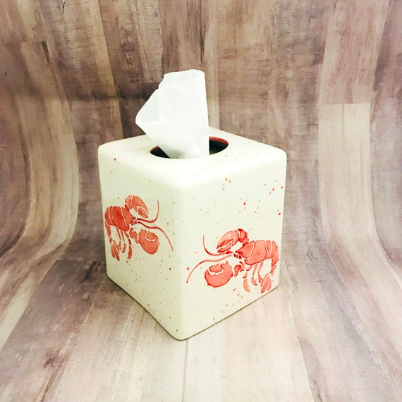 Tissue Box. Lobster Tissue Box, Ceramic Pottery. Sea. Lobster. Crustacean. Handmade by Sara Hunter