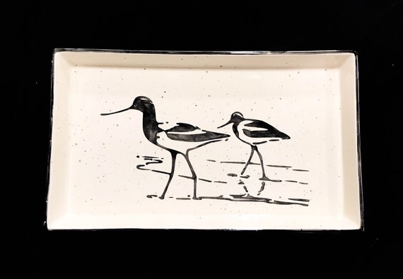 Sandpiper Extra Large Rectangular Serving Tray.  Sandpiper. Shorebird. Serving Tray. Handmade by Sara Hunter