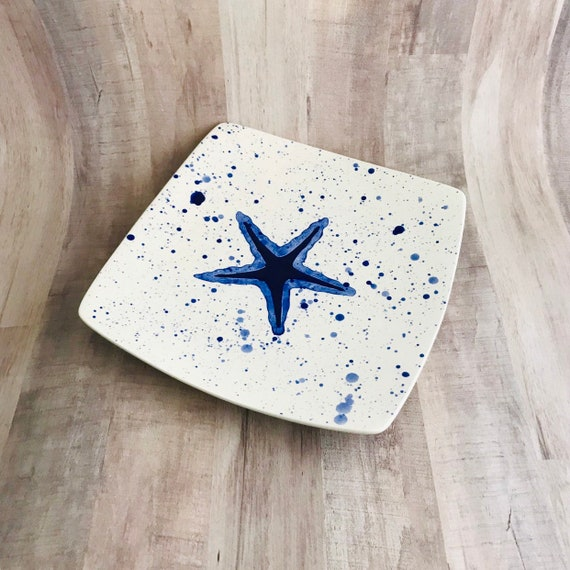 Plate. Salad. Starfish Dinner Plate. Salad Plate. Starfish.Sea.Dots. Handmade by Sara Hunter Designs