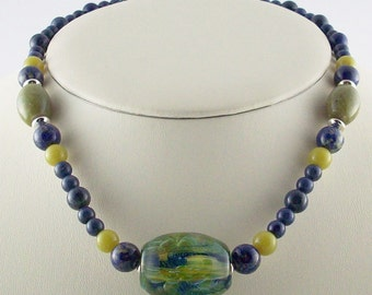 Borosilicate Lampwork Focal Bead Necklace with Stones of Blues and Greens
