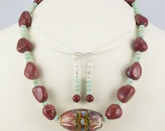 Artisan Borosilicate Lampwork Focal with Real Poppy Jasper Nugget Necklace Set