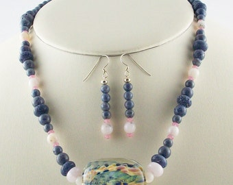 Sweet Blues and Pinks.  Borosilicate Lampwork Focal, Necklace Set-