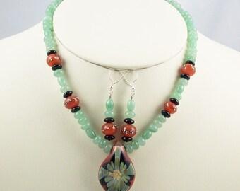 Beaded Necklace Set of Borosilicate Lampwork and Natural Aventurine, Onyx