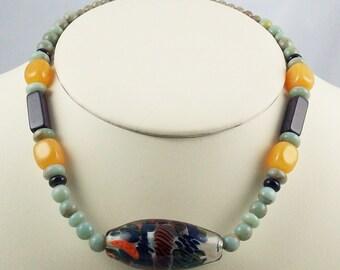 Borosilicate Lampwork Focal Bead Resembling Coral Reef, Beaded Necklace Set-