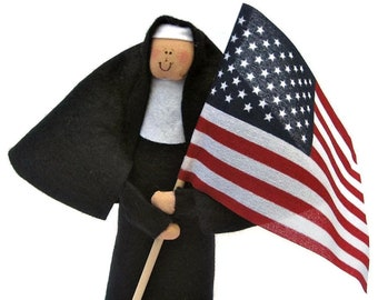 Nun doll Catholic gift -Sister Liberty Bell, the patriotic American sister