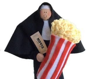 Funny Nun doll, theatre lover, movie goer, movies, film buff, humorous Catholic gift, Sister Fanna Flicks