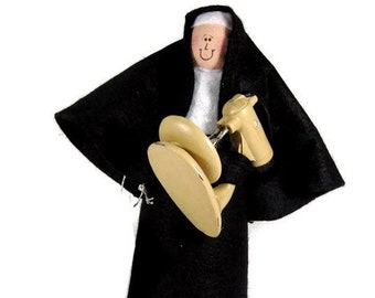 Funny Nun doll, woman baker, baking enthusiast, fun Catholic gift, woman with baking mixer,  Sister Brigitte Bardough