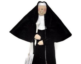 Nun doll golfing woman, sister doll, fun Catholic gift, gift for golfer , golf enthusiast, golf tee and club, Sister Holyn One