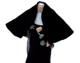 Nun Doll personal Trainer, workout woman doll, Fun Catholic gift, nun holding barbells, gym  addict gift, Nuns of Steel