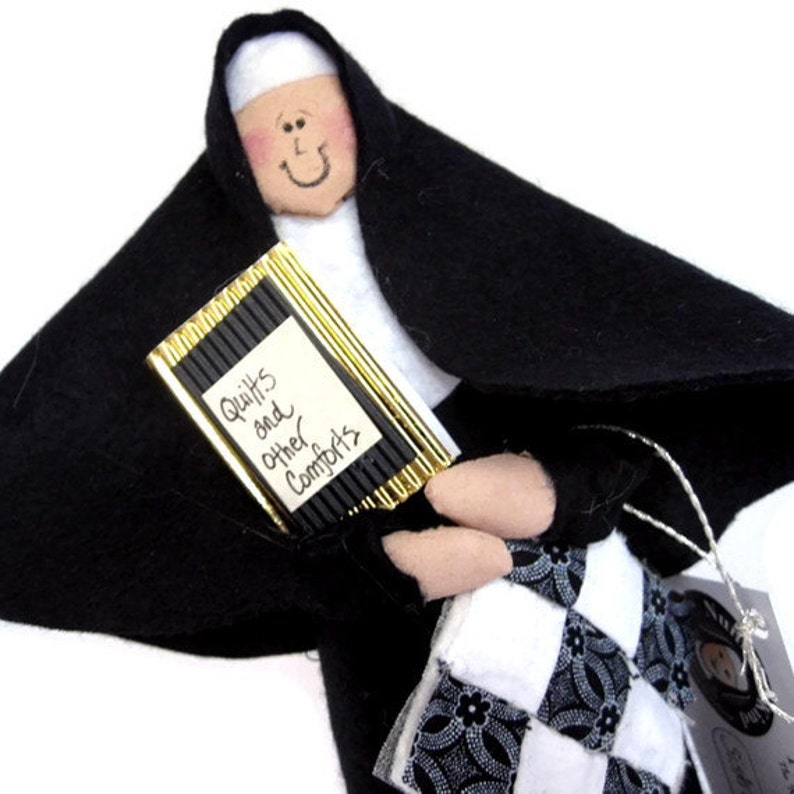 Woman quilter nun doll fun Catholic gift quilt enthusiast image 0