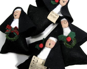 """Nun doll Christmas ornament,  religious Catholic humor, fun holiday decor, unique wine toppers, cute Catholic gift,  """"Little Sisters"""""""