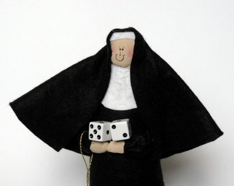Novelty Nun doll, Gambler, Casino lover, Funny Catholic Gift, Dice Roller, Sister Holy Roller